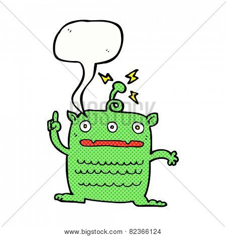 cartoon weird little alien with speech bubble