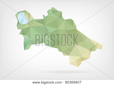 Low Poly map of Turkmenistan