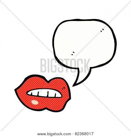 cartoon lips  with speech bubble