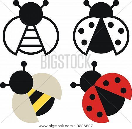 Bee and ladybird