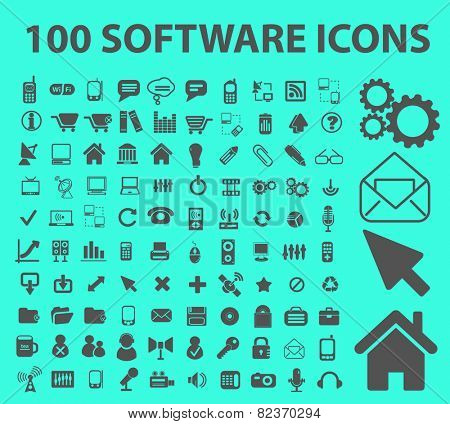 100 software, application, programming icons, illustrations, signs set, vector