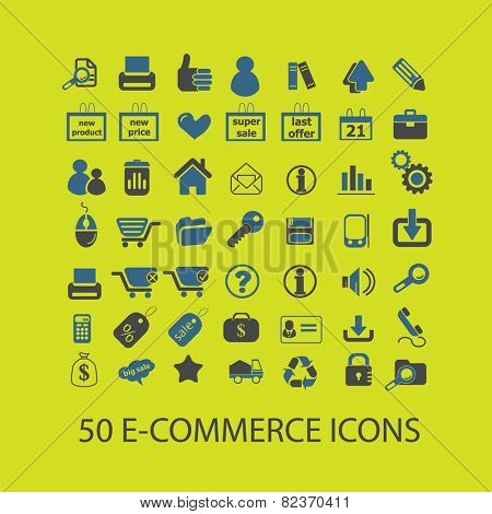 e-commerce, shop, store icons, signs, illustrations set, vector