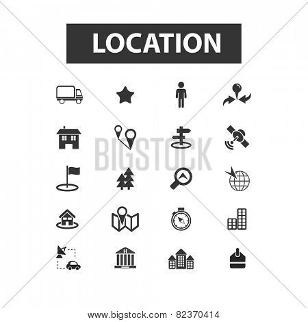 location, map, navigation, route flat icons, signs, illustration set, vector
