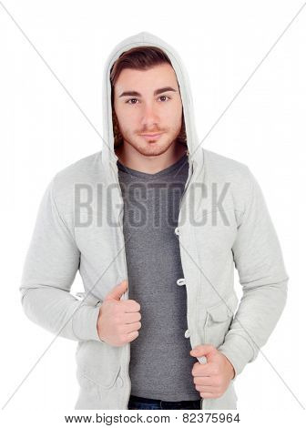 Casual guy with hood isolated on a white background