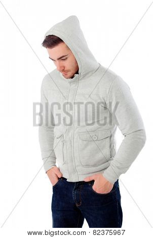 Sad boy with hood isolated on a white background