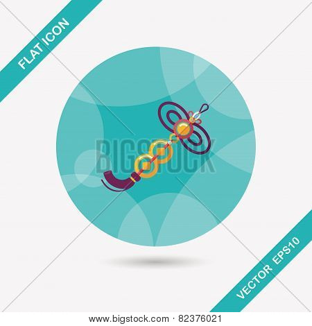 Chinese New Year Flat Icon With Long Shadow,eps10, Lucky Chinese Knot Pendant Means