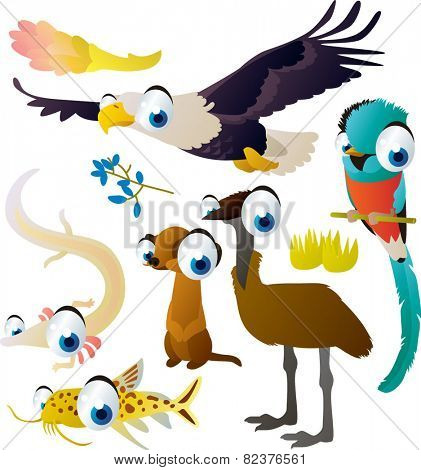 Cute funny comic cartoon vector big eyes animal set : eagle, quetzal, olm, meerkat, emu, catfish