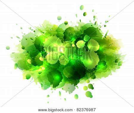 Abstract artistic background of green paint splashes