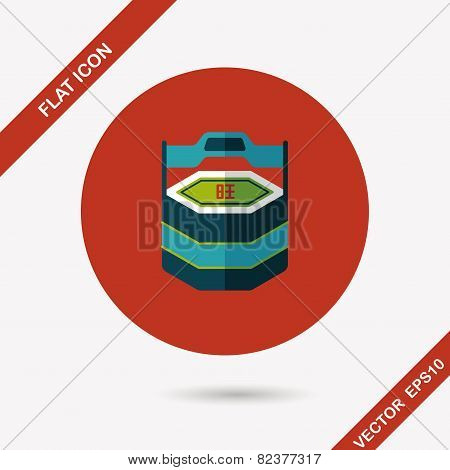 Chinese New Year Gift Box Flat Icon With Long Shadow,eps10