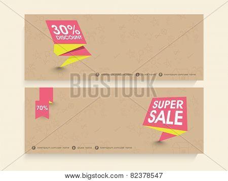 Super sale website header or banner set with best discount offer.