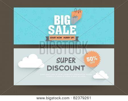 Big sale website header or banner set with super discount offer.