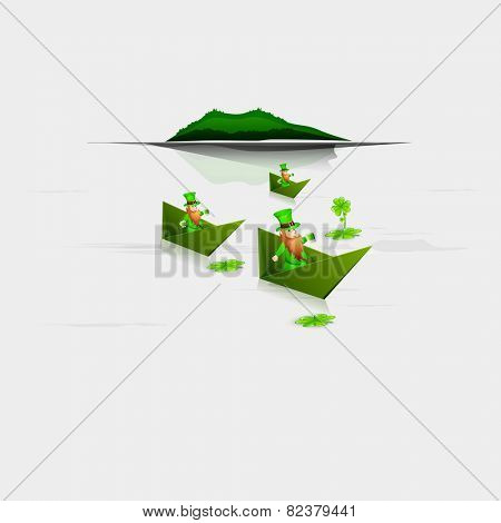 Leprechauns sitting in green boats and trying to get clover leaves for Happy St. Patrick's Day celebration.