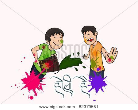 Cute little kids playing colors on occasion of Indian festival, Holi celebration.