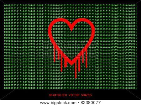 Heartbleed Openssl Bug Vector Shape, Bleeding Heart With Green Wall Of Text In Background