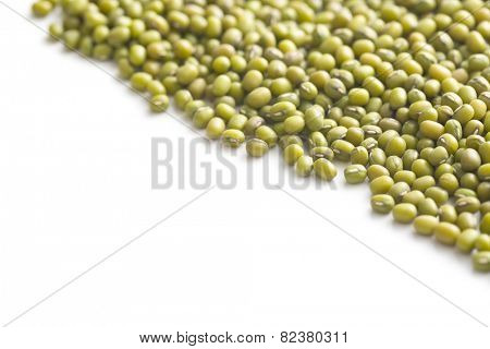 mung beans on white background
