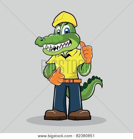 Alligator Mascot - Construction Worker