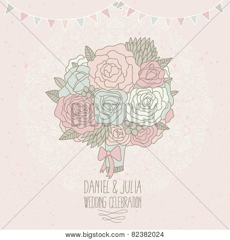 Wedding flowers. Stylish bouquet, wedding invitation card in vector. Abstract floral background in pastel colors. Bright bouquet made of roses