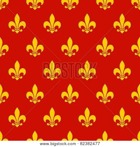 Fleur de lis seamless pattern. Endless vector background