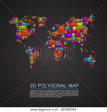 Map 3d polygon art cube.