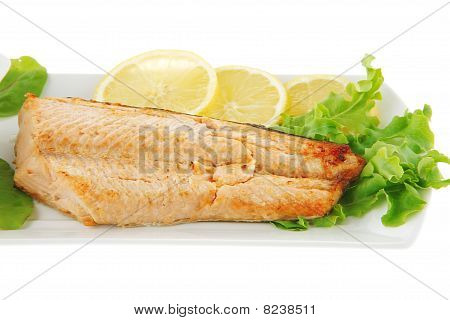 Grilled Salmon Steak On White