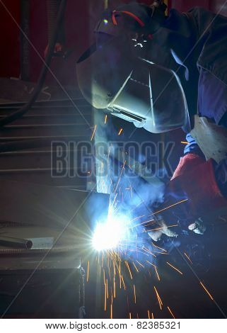 Welder With Protective Mask Welding
