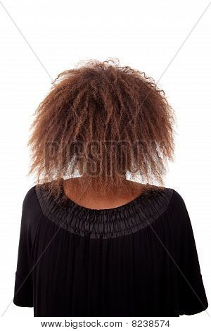 Young Black Woman Seen From Behind,  Isolated On White Background. Studio Shot