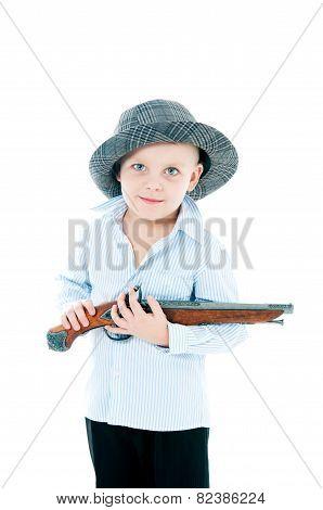 Boy In A Hat  With Gun