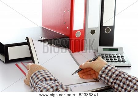 Man Is Working On Office Documents
