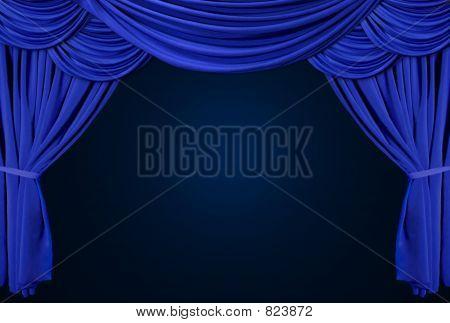 Layered Blue Spotlight Drapes