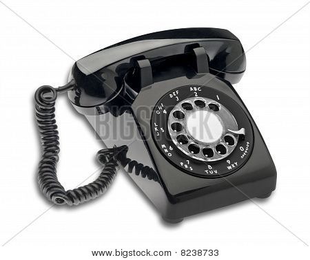 Vintage black dial phone, isolated