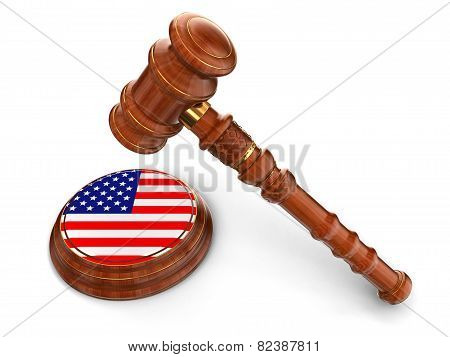 Wooden Mallet and US flag (clipping path included)