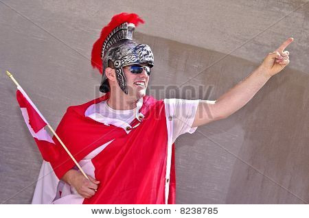 Gladiador em vermelho