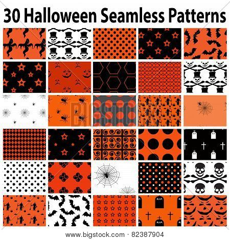 30 Halloween Seamless  Patterns