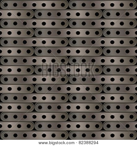 metallic background of long plates with holes in steampunk