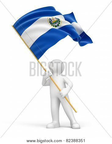 Man and El Salvadorian flag (clipping path included)