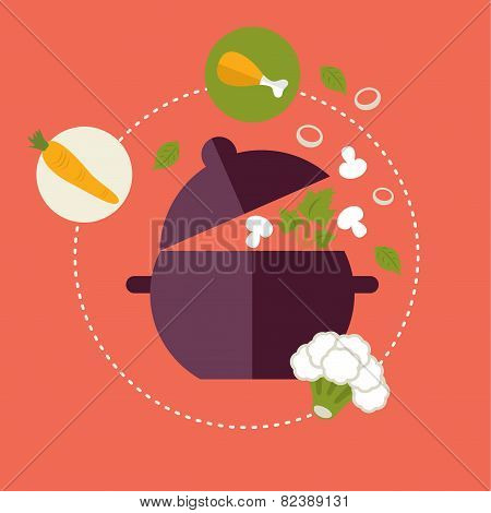 Set of flat design concept icons for food and restaurant. Icons for cooking, fruits and vegetables,