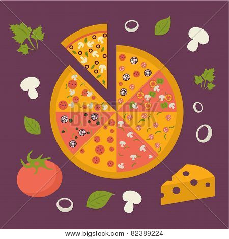 Pizza icon. Minimal design. Tasty pizza slices, with classic ingredients. Cheese, pepper, olives, on