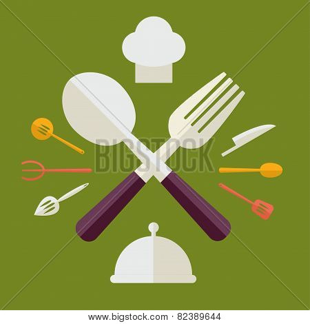 Tableware Serving Utensils icons set great for any use. Vector EPS8