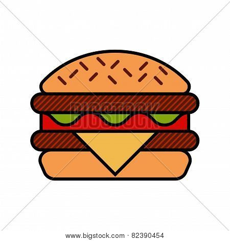 Hamburger icon with meat, lettuce, cheese and tomato