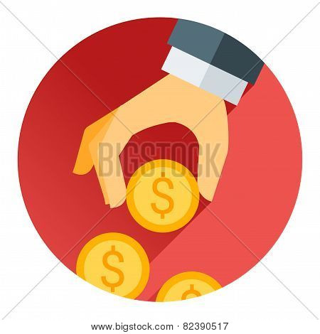 hand holding money coin, red shadow and flat theme