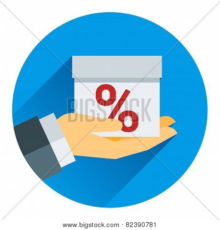 percentage on hand web icon. vector design