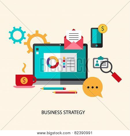 Business strategy planning icon flat set with effective management achieving a goal isolated vector