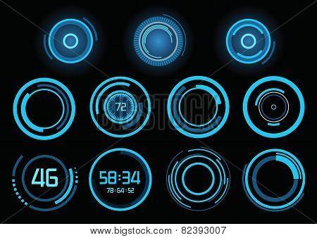 Set Of Futuristic Blue Infographics