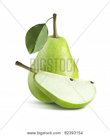 Green Pear Central Composition Whole Quarter Isolated On White