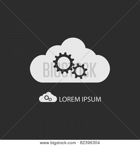 White cloud with gear wheels on dark grey background