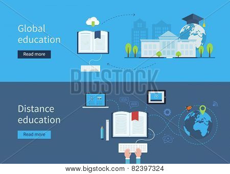 Set of flat design concept icons for distance and global education.