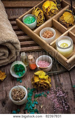 Wooden Box With Accessories For Spa Treatments