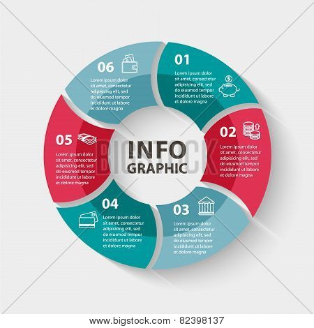 Vector circle infographics. Template for diagram, graph, presentation and chart. Business concept wi