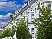 stock photo of kensington  - Row of houses in London - JPG