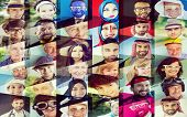 image of human face  - Collage of many different happy human faces of people - JPG
